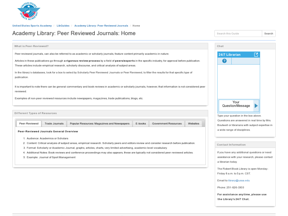 Academy Library: Peer Reviewed Journals